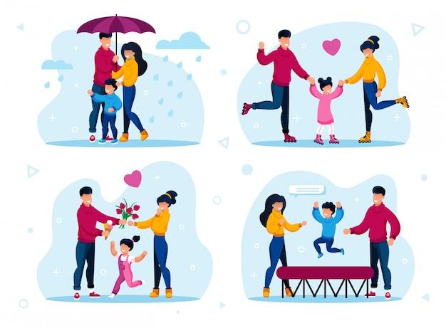 Conjunto de atividades de recreação familiar