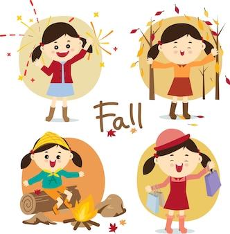 Conjunto de atividades de temporada de outono.