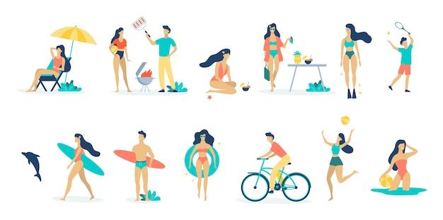 Conjunto de atividades de verão no oceano. esporte aquático, férias