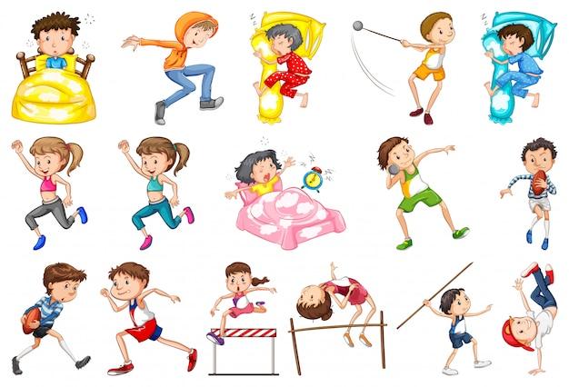 Conjunto de atividades diárias de crianças