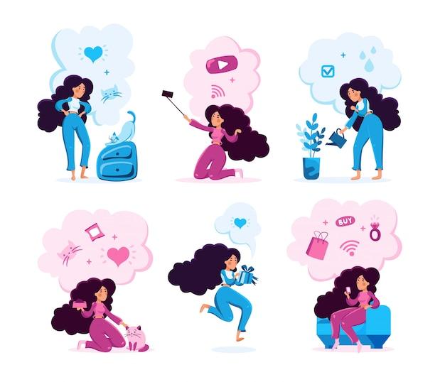 Conjunto de atividades diárias de mulher