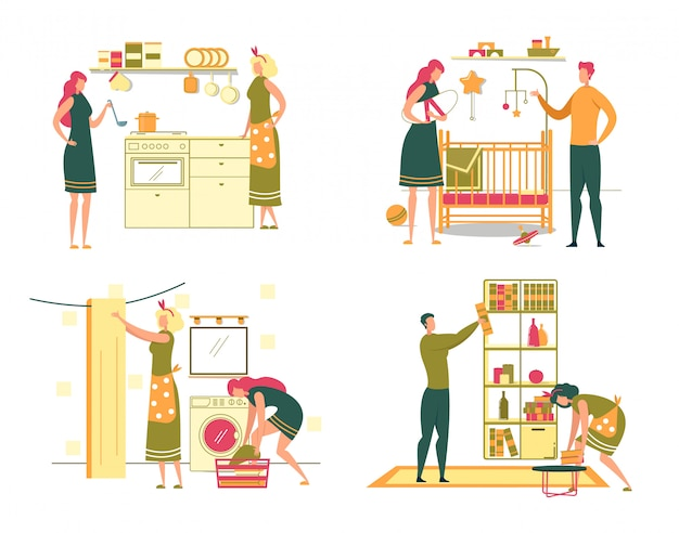 Conjunto de atividades diárias para mulheres e tarefas domésticas.