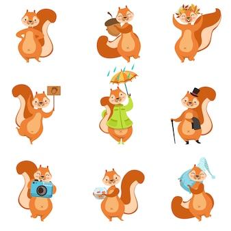 Conjunto de atividades diferentes de esquilo de adesivos de personagem feminino