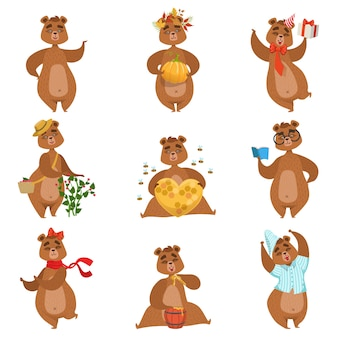 Conjunto de atividades diferentes de urso pardo de adesivos de personagem feminino
