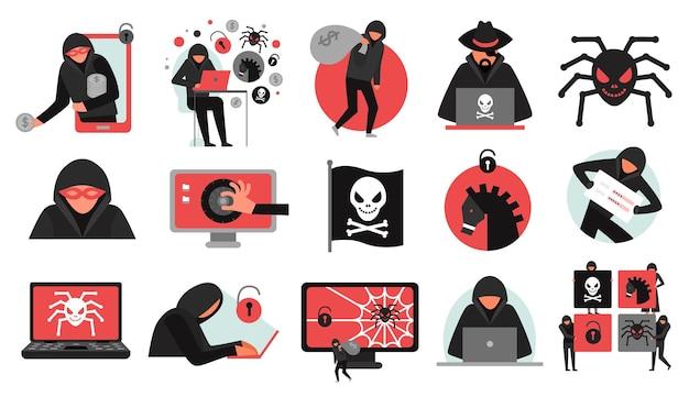 Conjunto de atividades do hacker de ícones pretos vermelhos quebrando malware de conta