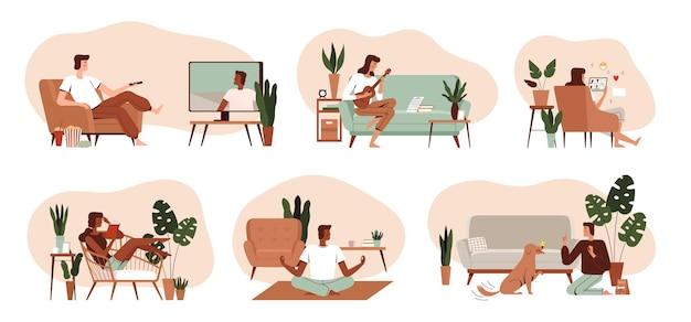Conjunto de atividades domésticas das pessoas