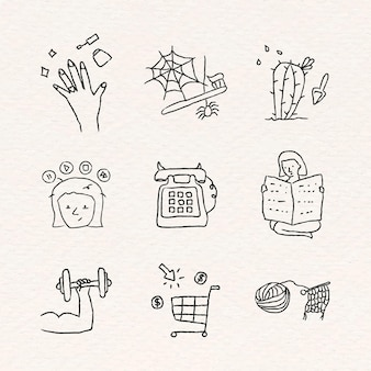 Conjunto de atividades em casa estilo doodle