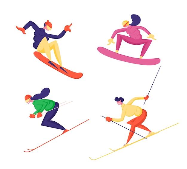 Conjunto de atividades esportivas de inverno isoladas no fundo branco