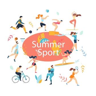 Conjunto de atividades esportivas de verão.