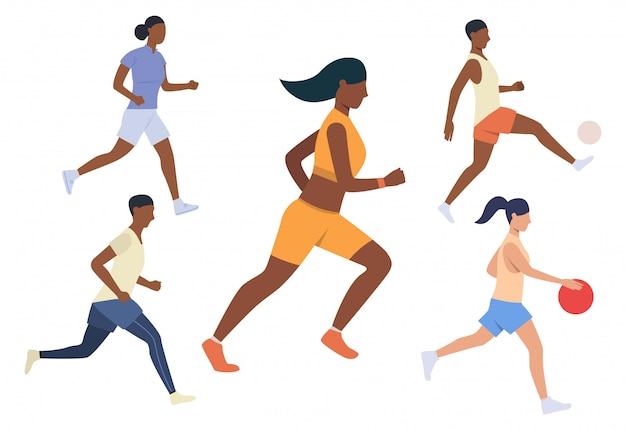 Conjunto de atividades esportivas em execução. homens e mulheres correndo