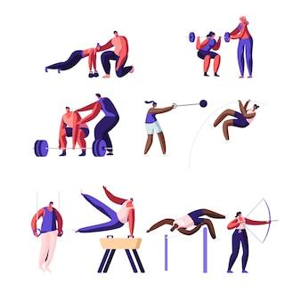 Conjunto de atividades esportivas profissionais. treino de personagens desportistas masculinos e femininos.