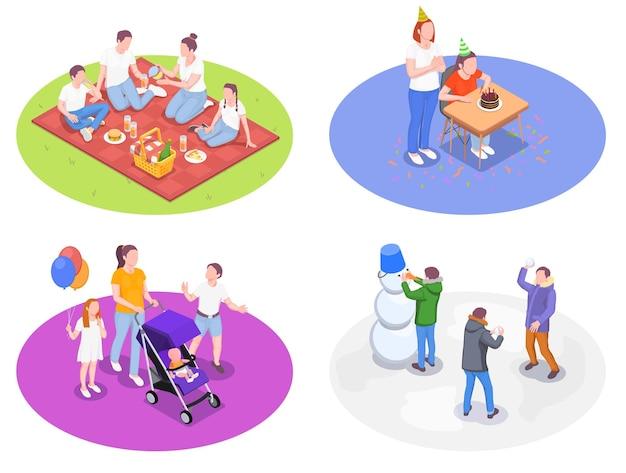 Conjunto de atividades familiares de ilustração isométrica