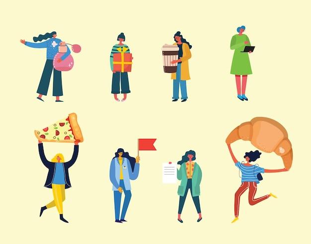 Conjunto de atividades femininas diferentes no estilo plano