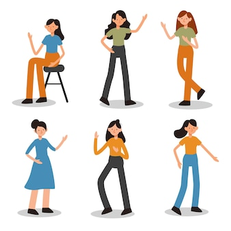 Conjunto de atividades femininas em personagens de desenhos animados com gestos diferentes, ilustração plana isolada