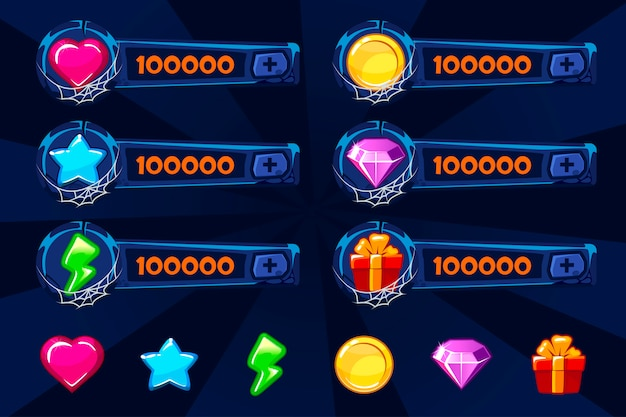 Conjunto de ativos de jogo dos desenhos animados de pedra azul. elementos e ícones da gui. painéis de adição para o jogo