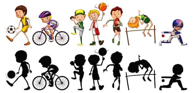 Conjunto de atletas do esporte e sua silhueta