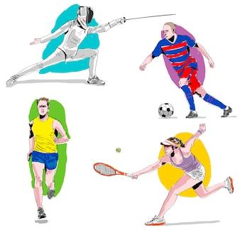 Conjunto de atletas em aquarela