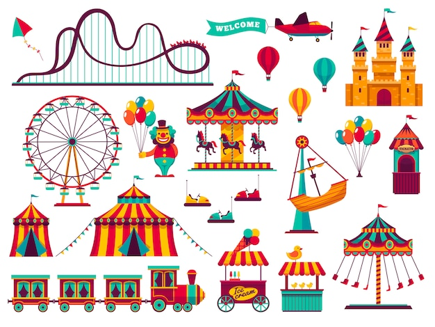 Conjunto de atrações do parque de diversões.