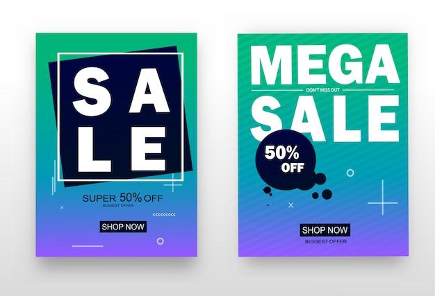 Conjunto de atraente web banners para compras, venda, promoção de produtos, autorização.