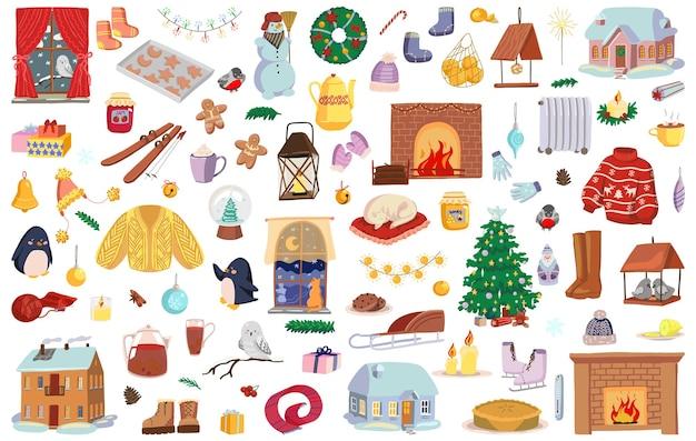 Conjunto de atributos de tempo de inverno, símbolos de férias de natal. desenhos de itens aconchegantes, decorações de natal, roupas, alimentos. mão-extraídas ilustrações vetoriais. coleção de cliparts dos desenhos animados isolada no branco.