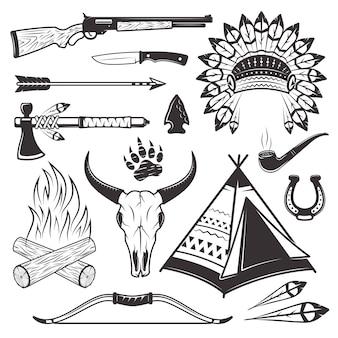 Conjunto de atributos e armas do caçador índio americano