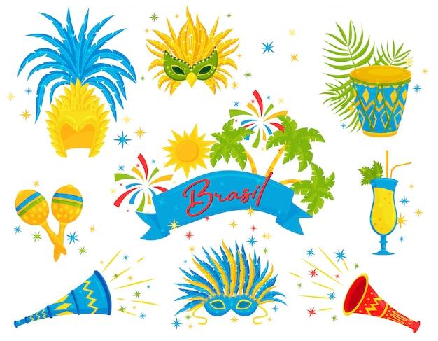 Conjunto de atributos festivos brasileiros. coquetéis, fazedores de barulho de carnaval e instrumentos musicais