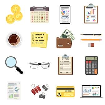 Conjunto de auditoria, processo tributário, ícones de contabilidade