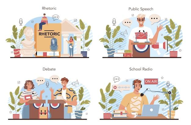 Conjunto de aulas de retórica. alunos treinando oratória e debates públicos