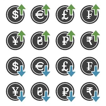 Conjunto de aumento de custo monetário e diminuição com seta