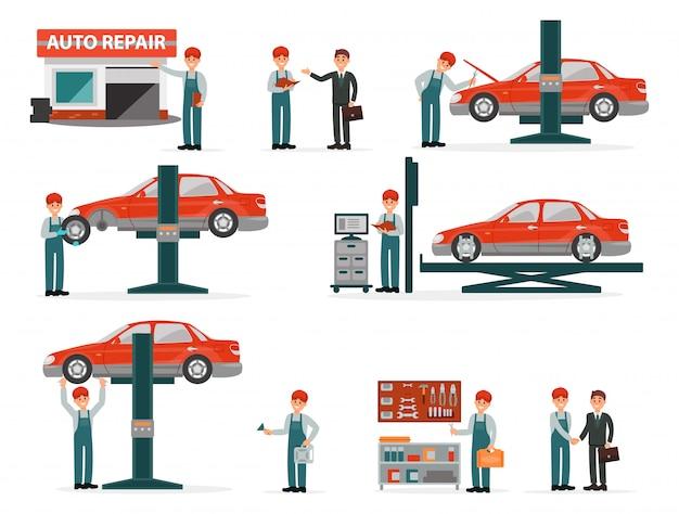 Conjunto de auto serviço de reparação de automóveis, mecânica de automóveis de uniforme no processo de trabalho de reparação com equipamentos e clientes ilustrações sobre um fundo branco