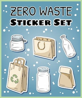 Conjunto de autocolantes de desperdício zero.