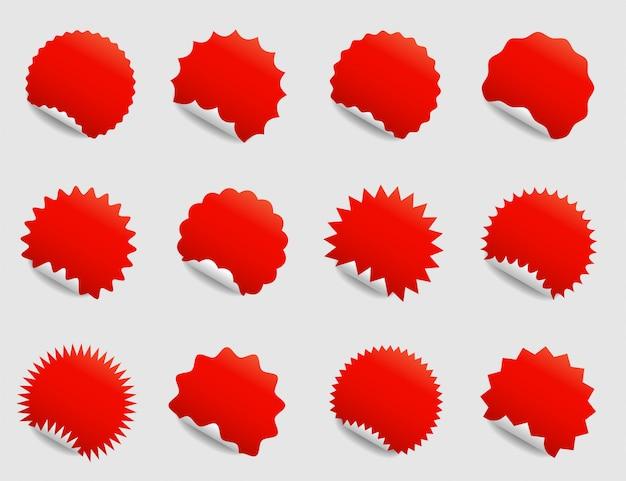 Conjunto de autocolantes redondos com cantos ondulados e diferentes orlas.