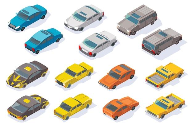 Conjunto de automóveis 3d plana colorida de vetor