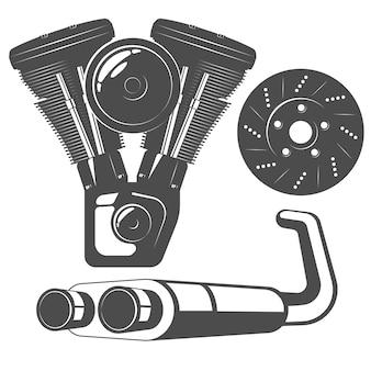 Conjunto de autopeças monocromáticas com motor de motocicleta, disco de freio
