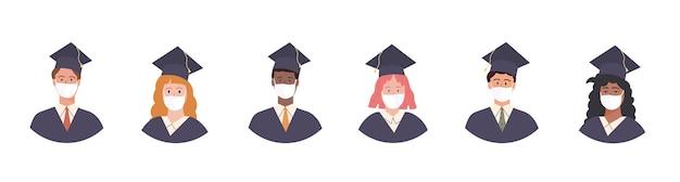 Conjunto de avatar de alunos graduados com bata e boné acadêmico