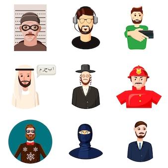 Conjunto de avatar de homem. conjunto de desenhos animados de avatar de homem