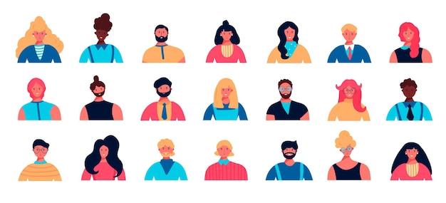 Conjunto de avatar de jovem com diferentes raças
