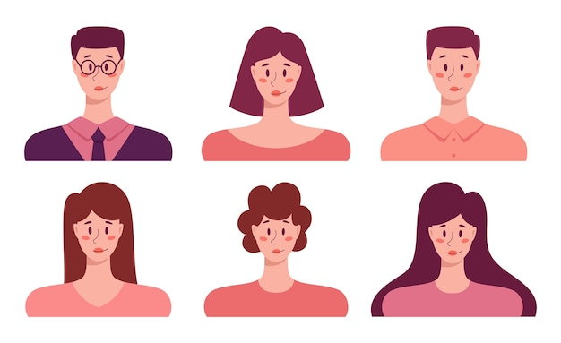 Conjunto de avatar de jovens adultos, ícones de retrato de homens e mulheres de negócios. coleção de caráter humano.