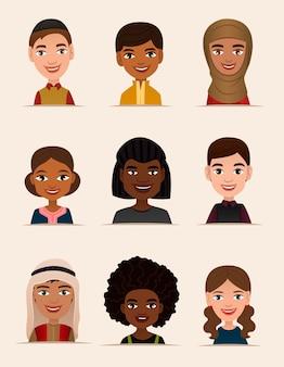 Conjunto de avatar de jovens felizes