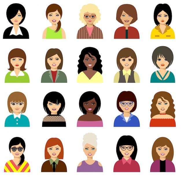 Conjunto de avatar de mulher