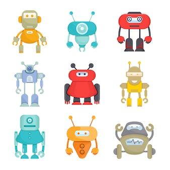 Conjunto de avatar de personagem robô