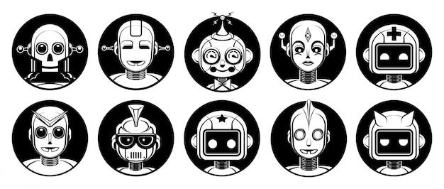 Conjunto de avatar de personagens de robô android