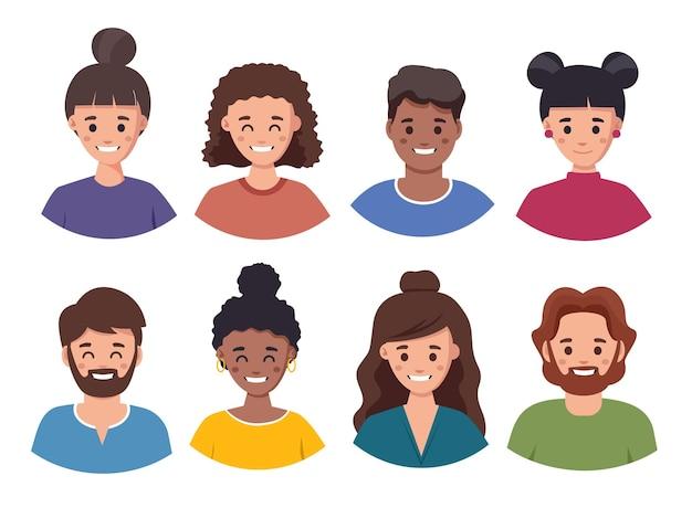 Conjunto de avatar de pessoas conjunto de ilustração de pessoas com diferentes estilos de cabelo e cores de cabelo