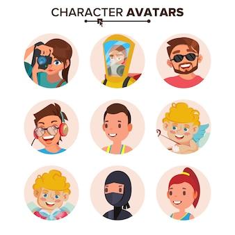Conjunto de avatar de pessoas de caráter.