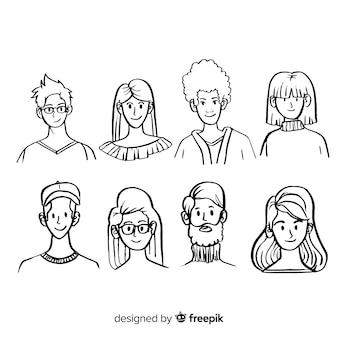 Conjunto de avatar de pessoas desenhadas a mão