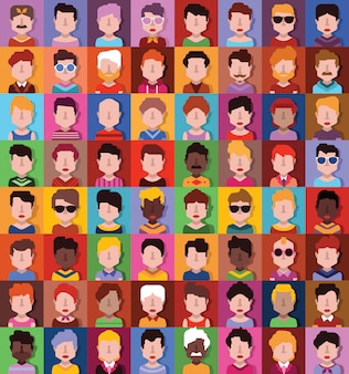 Conjunto de avatar de pessoas estilizadas