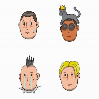 Conjunto de avatar de rosto de expressão
