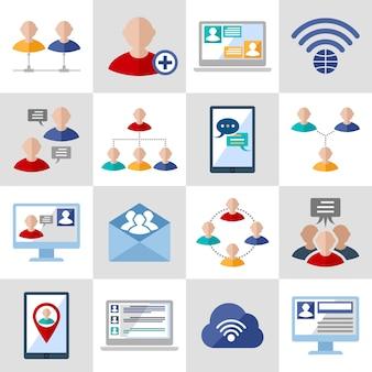 Conjunto de avatar e elementos de comunicação