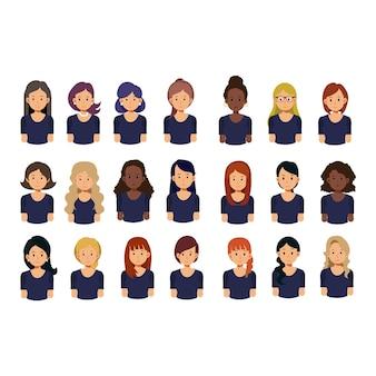 Conjunto de avatar feminino. garotas bonitas com penteados diferentes. coleção de ilustração de avatares de personagem plana.