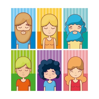 Conjunto de avatar hippie